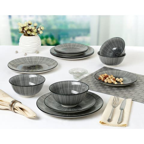 Black and White 12 Piece Pad Printed Dinnerware Set, Service for 4