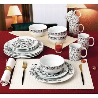 Link to Black and White Wildflowers 16 Piece Dinnerware Set, Service for 4 Similar Items in Dinnerware