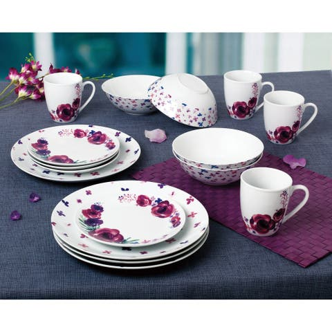 Purple Flowers 16 Piece Dinnerware Set, Service for 4
