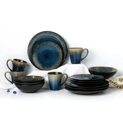 Two-Toned 16 Piece Black Reactive Glaze Dinnerware Set, Service for 4