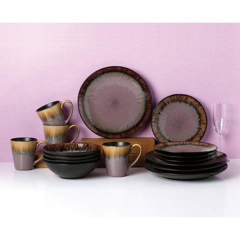 Two-Toned 16 Piece Black Reactive Glaze Dinnerware Set, Service for 4