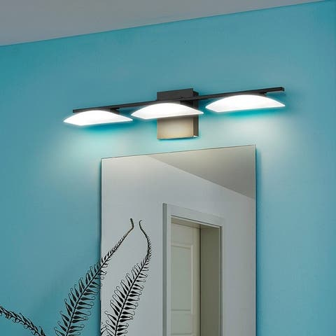 Porch & Den Parksedge Matte Black Finish/ Satin White Shade 3-light LED Vanity