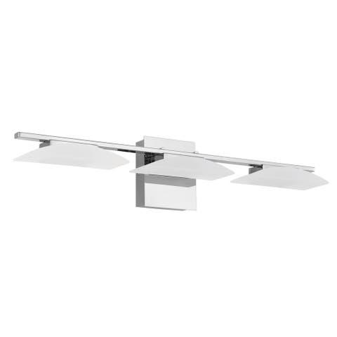 Eglo Metrass 3 LED Vanity Light w/ Chrome Finish & Satin Plastic Shade
