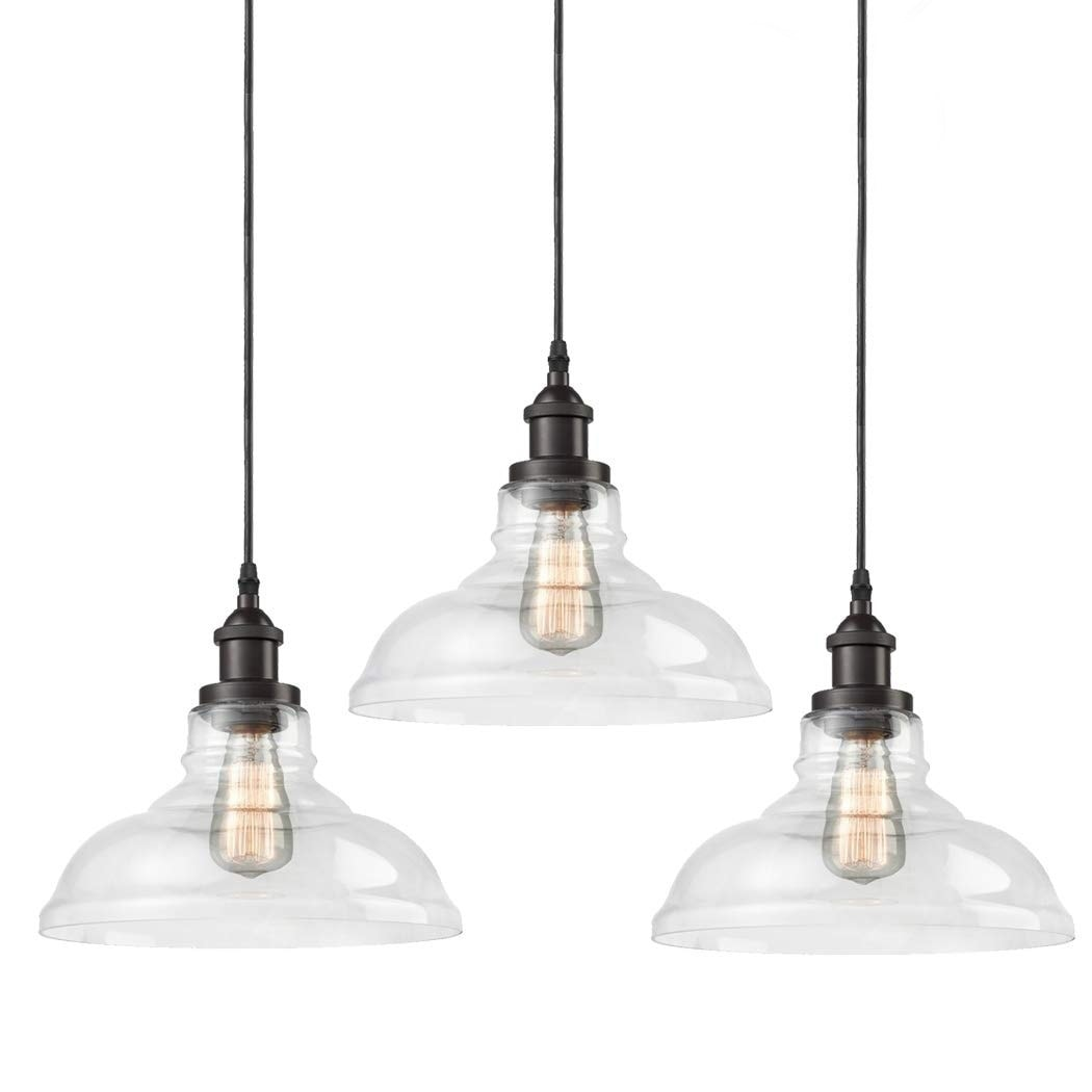 Shop Black Friday Deals On Carbon Loft Kamari Industrial Glass Kitchen Island Pendant Set Of 3 Overstock 30077104