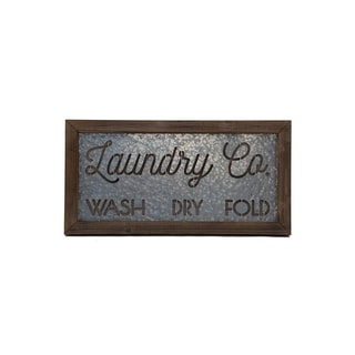 "Designstyles Laundry Room ""Laundry Co. Wash, Dry Fold"" Decorative Door and Wall Sign"