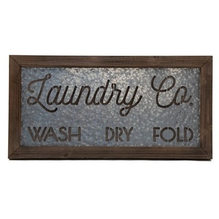 """Designstyles Laundry Room """"Laundry Co. Wash, Dry Fold"""" Decorative Door and Wall Sign"""