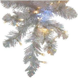Fraser Hill Farm 7.5-Ft Icy Fir White Christmas Tree with Cool White LED Twinkle Lights