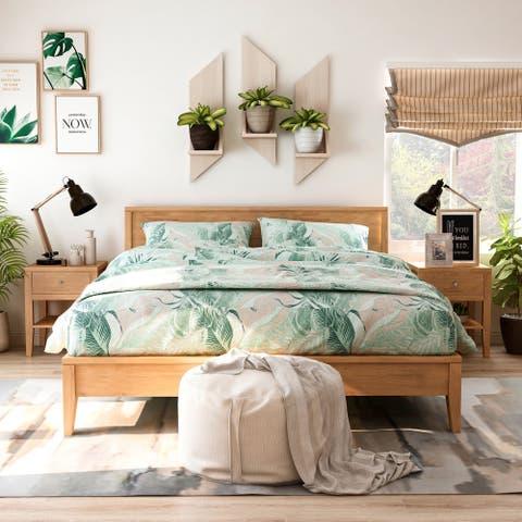 Furniture of America Larc Brown 3-piece Bedroom Set with 2 Nightstands