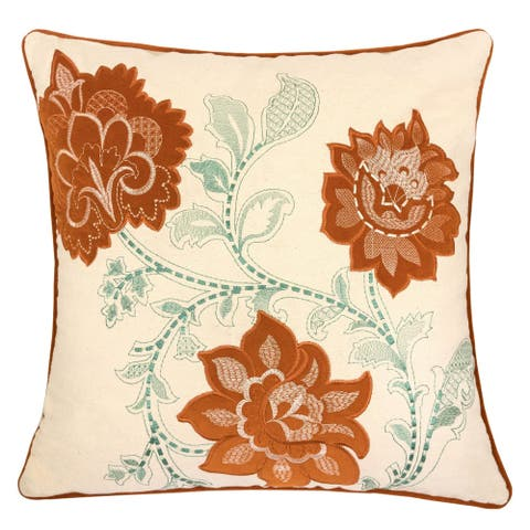 """Samantha Embroidery Canvas 20"""" Square Decorative Throw Pillow"""
