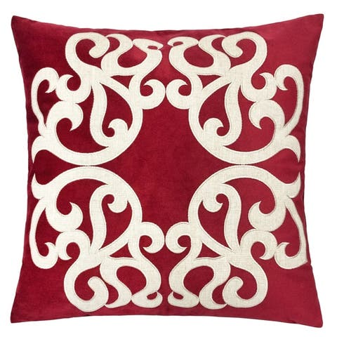 """Shierly Applique Embroidery Velvet 20"""" Square Decorative Throw Pillow"""
