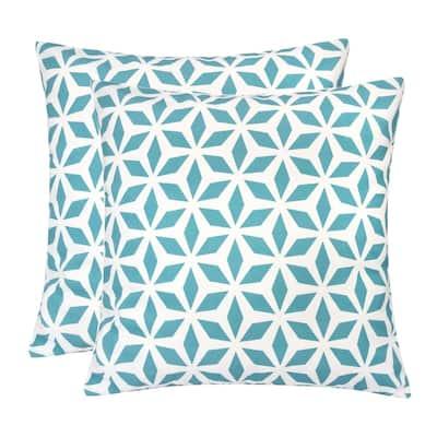 Outdoor Pillow, Aqua Crystal Grid