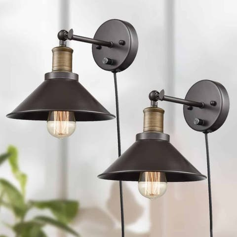 Industrial Swing Arm Wall Sconce Simplicity 1 Light Wall Lamp-2 Pack