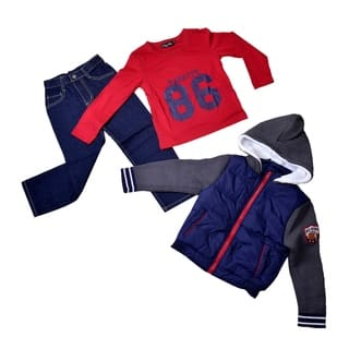 Boys Going out Print Long Sleeve Long Cotton Clothing Set