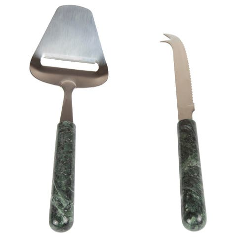 Creative Home 2 Pcs Chesse Serving Set with Green Marble Handle