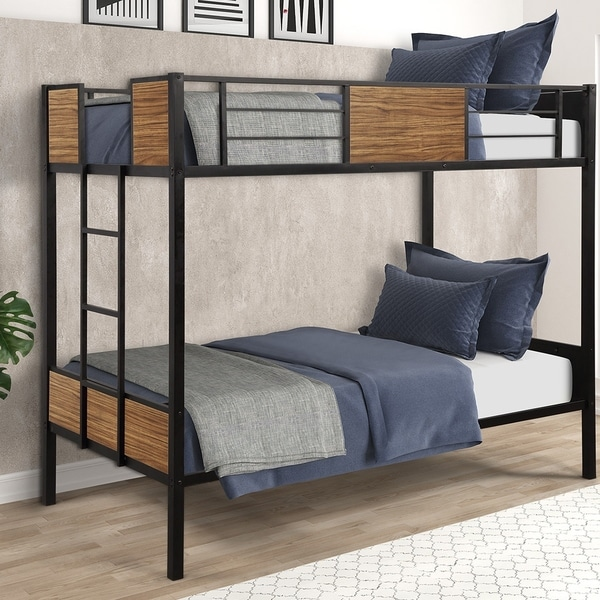 Taylor & Olive Artemisia Industrial Steel Bunk Bed with Safety Rail