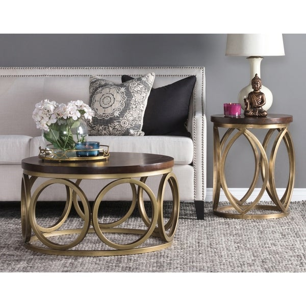 Round Iron Framed Coffee Table with Wooden Top, Brown and Gold. Opens flyout.