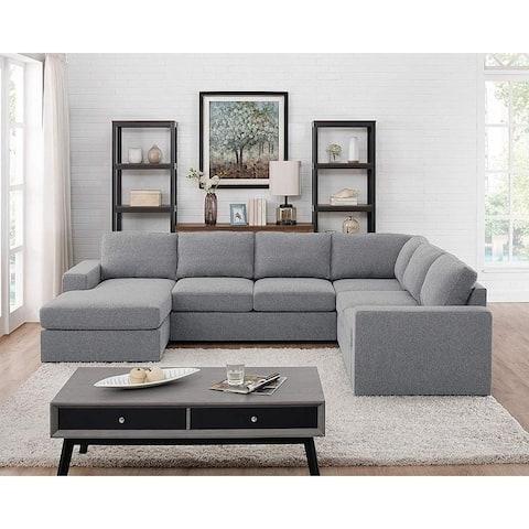 Copper Grove Caolan Light Grey Linen Reversible Modular Sectional Sofa Chaise