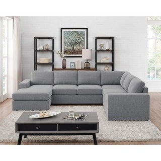 Warren Light Gray Linen 6 Seat Reversible Modular Sectional Sofa Chaise