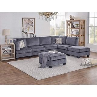 Zelmira Gray Velvet 7Pc Modular Sectional Sofa