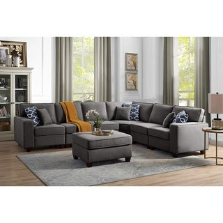 Casanova Dark Gray Linen 7Pc Modular Sectional Sofa and Ottoman