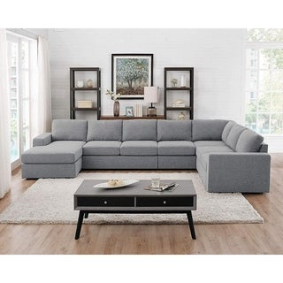 Tifton Light Gray Linen 7 Seat Reversible Modular Sectional Sofa Chaise