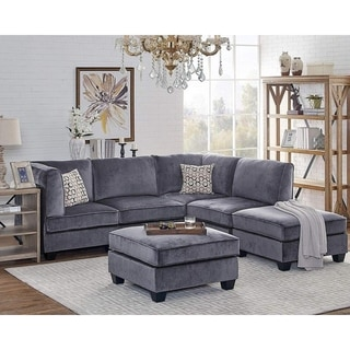 Simona Gray Velvet 6Pc Modular Sectional Sofa