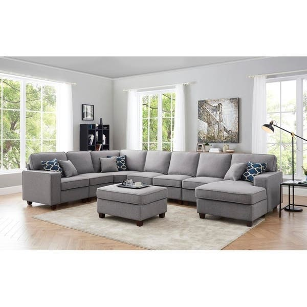Irma Light Gray Linen 8Pc Modular Sectional Sofa Chaise and Ottoman