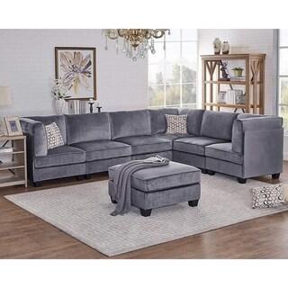 Simona Gray Velvet 7Pc Modular Sectional Sofa