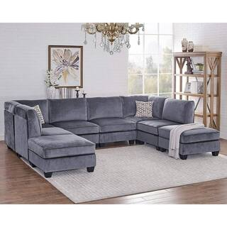 Simona Gray Velvet 8Pc Modular Sectional Sofa