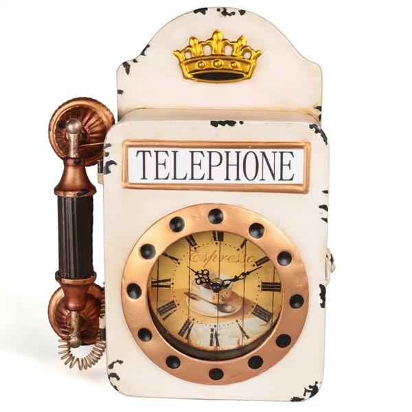 Creative Home Distressed Metal Wall Retro Telephone Shape Clock - N/A