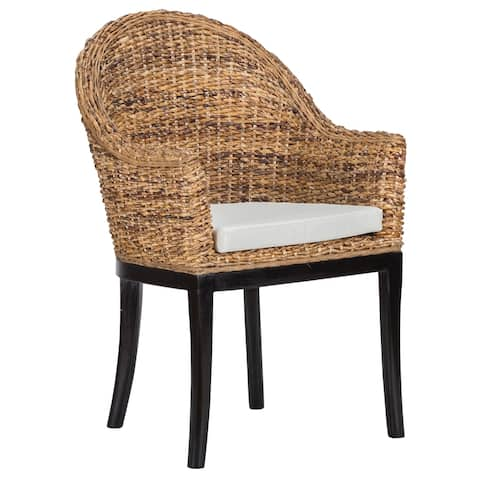 Woven Rattan Side Chair with Removable Polyester Seat Cushion, Brown and Black