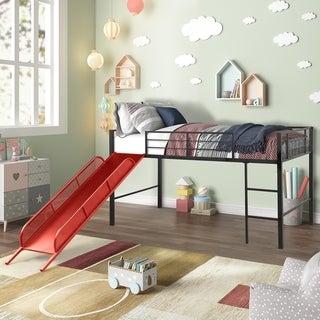 Taylor & Olive Geranium Metal Twin-size Loft Bed with Slide