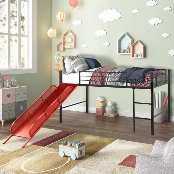 Taylor & Olive Geranium Metal Twin-size Loft Bed with Slide