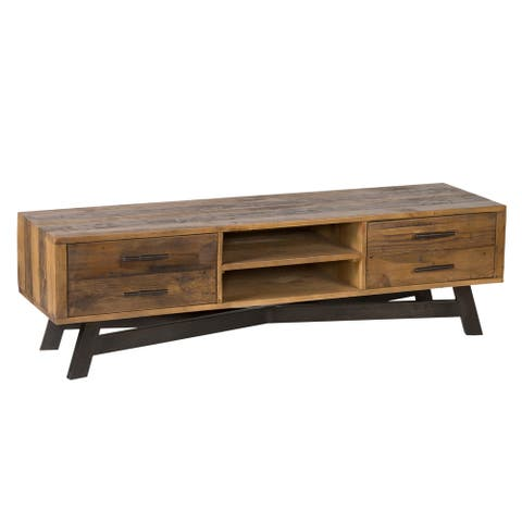 Wooden TV Stand with Cross Iron Base and Storage, Brown and Black