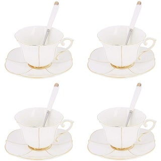 12 Pieces Coffee and Tea Service, Porcelain Shape Cup and Saucer Set