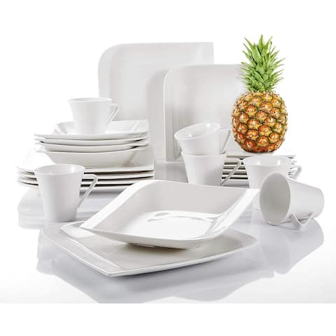 Porcelain Dinnerware Set of 6, Cups Saucers Plates Dinner Service