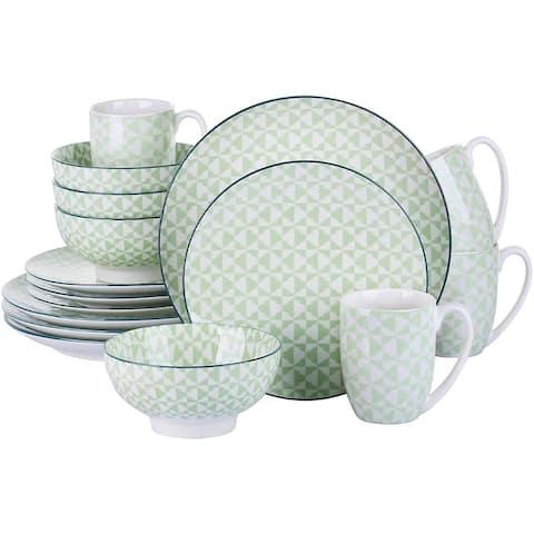 Porcelain Ceramic Dinnerware Set for 4, Green Pattern Serving Set