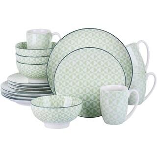 Link to Porcelain Ceramic Dinnerware Set for 4, Green Pattern Serving Set Similar Items in Dinnerware