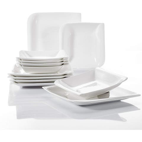 12-Piece Ivory White Porcelain Soup Plates, Dinnerware Sets for 6