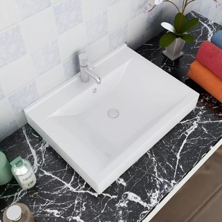 "Luxury Ceramic Basin with Faucet Hole 23.6""x18.1"" White"