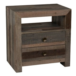 Wooden Nightstand with Two Drawers and One Open Shelf, Brown