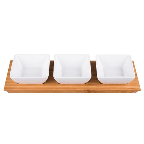 Creative Home 4 pc Stoneware Snack Serving Set