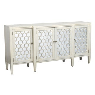 Honeycomb Design Wooden Sideboard with Four Door Storage, White and Clear