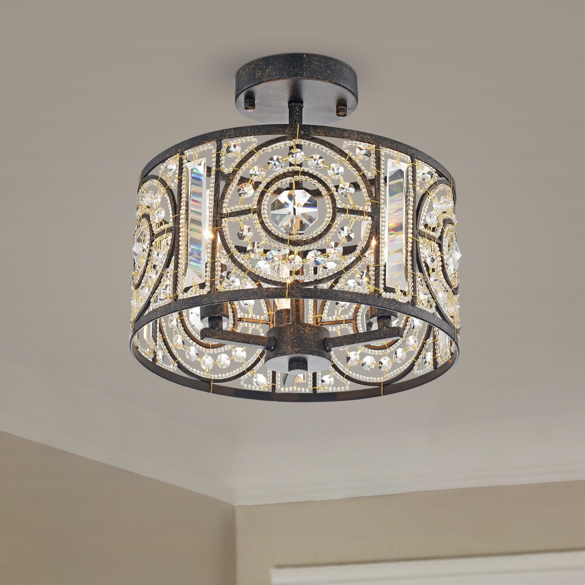 Crystal Chandelier Modern Mini Chandeliers 1-Light Bronze Light Fixtures Iron Flush Mount Ceiling Lights