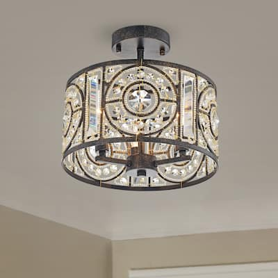 Silver Orchid Reid Bronze 3-Light Semi-Flush Mount with Crystal Drum Shade