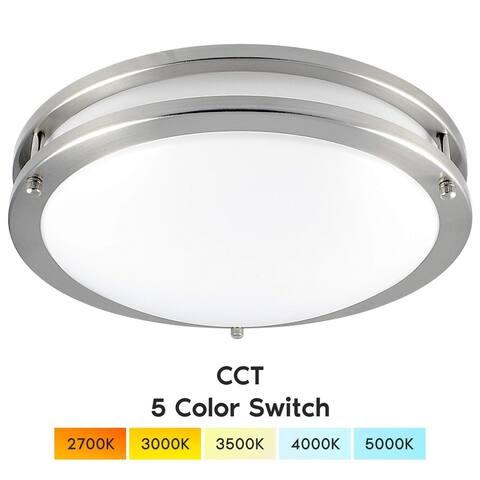 Luxrite 12 Inch LED Flush Mount Ceiling Light, Color Temperature Selectable 2700K 3000K 3500K 4000K 5000K