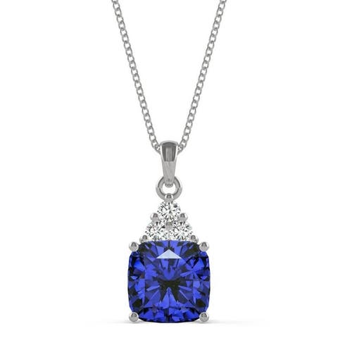 14k White Gold Moissanite by Charles & Colvard Cushion Drop Pendant with Blue Lab Created Sapphire