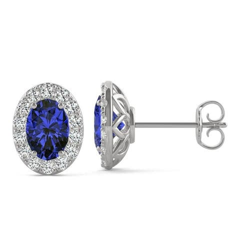 14k White Gold Moissanite by Charles & Colvard Oval Halo Stud Earrings with Blue Lab Created Sapphire