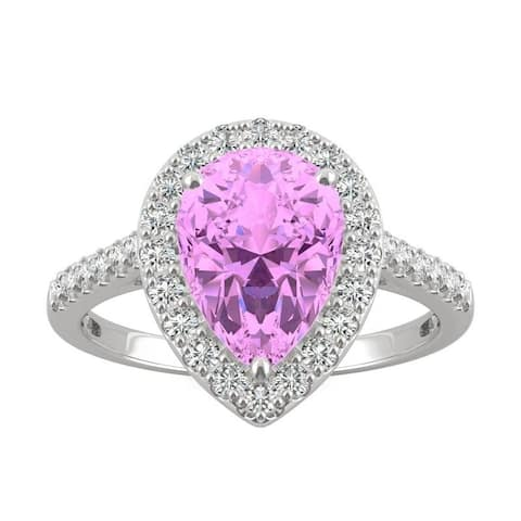 14k White Gold Moissanite by Charles & Colvard Pear Halo Ring with Pink Lab Created Sapphire