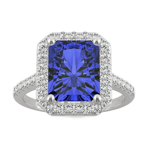 14k White Gold Moissanite by Charles & Colvard Radiant Cut Halo Ring with Blue Lab Created Sapphire